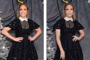 Jennifer Lopez lộ rõ nếp nhăn già nua song vẫn diện váy bồng trẻ trung