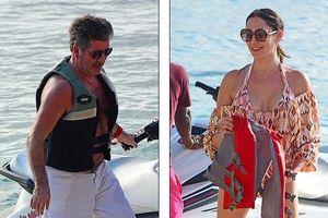 'Ông trùm' Simon Cowell và bồ trẻ hào hứng lái ca nô lướt trên biển