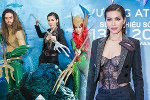 Minh Tú 'đốt mắt' bởi áo ren xuyên thấu kết hợp với phong cách menswear tại họp báo phim 'Aquaman'