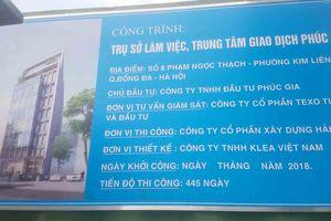 Đống Đa, Hà Nội: Dự án xây dựng Trụ sở làm việc, trung tâm giao dịch Phúc Gia lấn chiếm vỉa hè, khiến người dân bức xúc