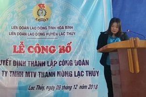 Hòa Bình: LĐLĐ huyện Lạc Thủy thành lập thêm công đoàn cơ sở