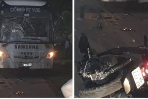 2 thanh niên tử vong sau cú đâm xe máy trực diện vào ô tô chở công nhân