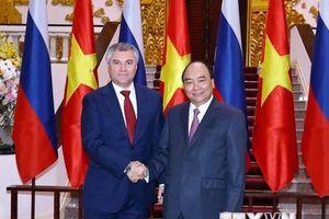 Hình ảnh Thủ tướng Nguyễn Xuân Phúc tiếp Chủ tịch Duma Quốc gia Nga