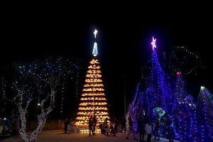 Cây thông Noel độc đáo bằng 300 chiếc nón lá ở Nghệ An