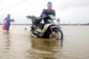 Nhiều khu dân cư cuối nguồn sông Côn bị chia cắt do ngập lụt