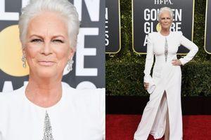 Ở tuổi 60, Jamie Lee Curtis diện váy trắng đánh bật dàn sao trẻ tại Quả Cầu Vàng 2019