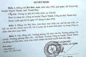 Vì sao một trung úy công an ở Thanh Hóa bất ngờ bị cho xuất ngũ?