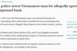 Nhật Bản bắt một người Việt Nam nghi vận chuyển trái phép 2,25 tỷ yên Nhật