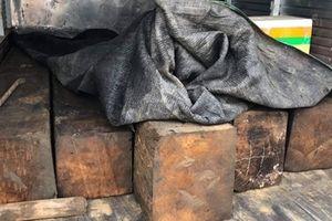 Xe tải chở gỗ lậu định 'vượt trạm' CSGT