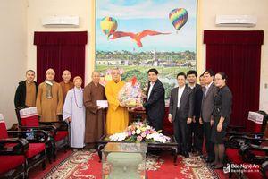 Ban Trị sự Giáo hội Phật giáo Việt Nam thăm, chúc Tết Tỉnh ủy, UBND tỉnh, Công an tỉnh