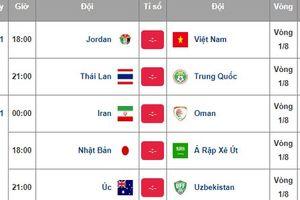 Lịch thi đấu 8 trận vòng knock-out Asian Cup 2019