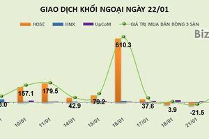 Phiên 22/1: Gom mạnh EIB và STB, khối ngoại trở lại mua ròng 99 tỷ đồng