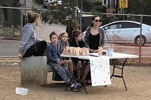 Angelina Jolie mặc cardigan giản dị, bán đồ ăn cho cún trong công viên