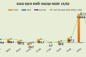 Phiên 15/2: Tiền vẫn đổ vào HPG, khối ngoại mua ròng thêm 133 tỷ đồng