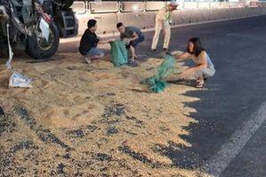 Nhiều tấn ngô đổ ra đường, người dân cùng CSGT thu gom giúp tài xế