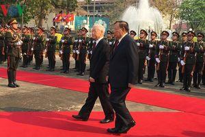 Hình ảnh lễ đón Tổng Bí thư, Chủ tịch nước Nguyễn Phú Trọng thăm Lào