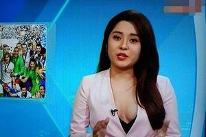 MC Diệu Linh khoe ngực khi dẫn bản tin bóng đá, ngoài đời còn mặc sexy hơn