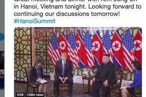 Ông Donald Trump 'tweet' về cuộc gặp và bữa ăn tối với ông Kim Jong Un tại Hà Nội