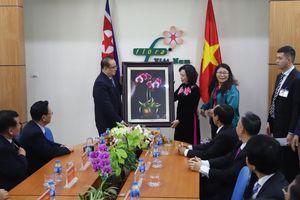 Đoàn Triều Tiên thích thú với mô hình trồng lan công nghệ cao ở HTX Đan Hoài