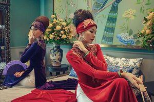 Cặp đôi siêu mẫu Thanh Hằng, Lan Khuê diện áo dài khoe eo thon
