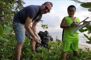 'Thử thách dọn rác' tại bãi biển Quy Nhơn
