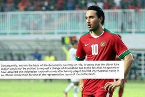 Cầu thủ U23 Indonesia FIFA cấm tham dự Vòng loại U23 châu Á