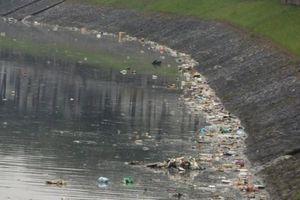 Hà Nội: Sông Tô Lịch ngập rác thải sinh hoạt sau mưa