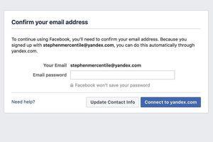 Facebook yêu cầu người dùng nhập mật khẩu email để làm gì?