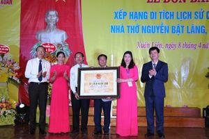 Nhà thờ Tiến sĩ Nguyễn Bật Lãng được xếp hạng di tích quốc gia