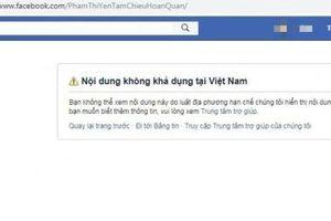 Tài khoản Facebook Phạm Thị Yến chùa Ba Vàng bị khóa