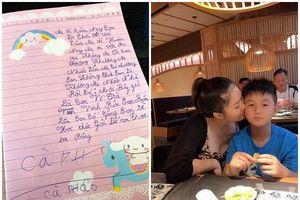 Đang bầu bí, Lê Phương nghẹn ngào khi đọc thư con trai gửi lúc cậu bé sắp xa mẹ