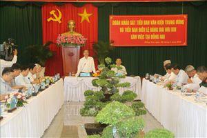 Đoàn khảo sát Tiểu ban Văn kiện và Tiểu ban Điều lệ Đại hội XIII làm việc tại Đồng Nai