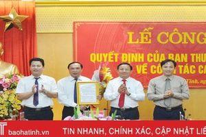 Hà Tĩnh công bố quyết định bổ nhiệm các trưởng ban Tuyên giáo, Nội chính Tỉnh ủy