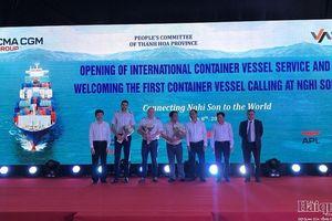 Cảng tổng hợp quốc tế Nghi Sơn đón chuyến tàu container quốc tế đầu tiên