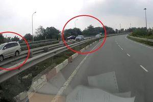 Hàng loạt ôtô đi lùi trên cao tốc Long Thành - Dầu Giây