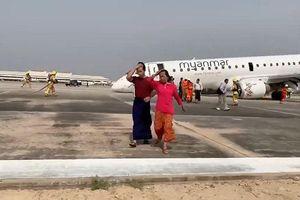 Gặp sự cố, máy bay Myanmar hạ cánh bằng mũi