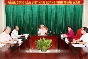 Tổng Bí thư, Chủ tịch nước Nguyễn Phú Trọng chủ trì họp lãnh đạo