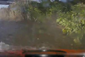 Đến nhận ôtô vừa sửa xong, tài xế lùi xe xuống hồ