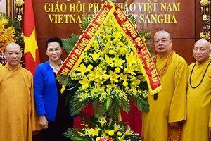 Chủ tịch QH Nguyễn Thị Kim Ngân thăm, chúc mừng Hội đồng Trị sự T.Ư Giáo hội Phật giáo Việt Nam