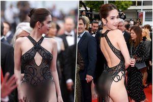 Cận cảnh nữ hoàng nội y Ngọc Trinh diện trang phục 'mặc như không mặc' ở LHP Cannes