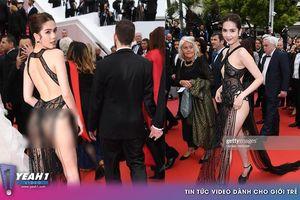 Clip: Cận cảnh bộ cánh hở bạo 'mặc như không' của Ngọc Trinh lại LHP Cannes