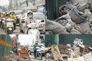 Chưa hết ùn tắc, đường Trường Chinh lại ngổn ngang với rác thải