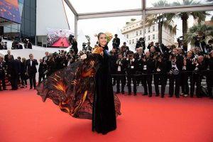 Cư dân mạng khen chê trái chiều khi Trương Thị May đem áo choàng rồng lên thảm đỏ Cannes