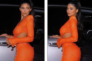 Kylie Jenner thả dáng nóng bỏng với đầm màu cam rực rỡ 20.000 USD