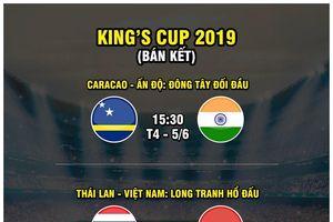 Hai trận đấu của ĐT Việt Nam tại King's Cup được tường thuật trực tiếp trên VTC1, VTC3, VOV1, VOV2