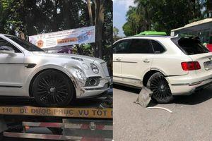 Xe Bentley siêu sang móp đầu, taxi vỡ mũi sau va chạm ở Linh Đàm chiều Chủ Nhật