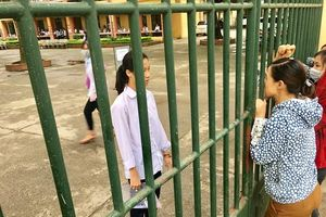 Hà Nội: Gác việc đồng áng, phụ huynh tất bật cùng con đến trường thi