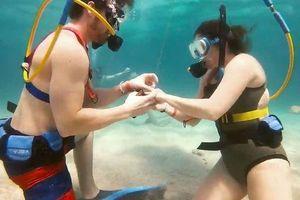 Chàng trai quỳ gối cầu hôn bạn gái dưới đáy biển