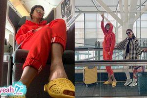 Không nổi không chịu được, H'hen Niê diện cả set đồ đỏ chói với dép tổ ong vàng đi dự hội nghị ở nước ngoài