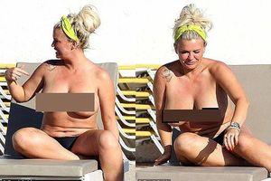 Mỹ nhân Anh một thời gây sốc khi phơi bày cơ thể ngấn mỡ, ngực trần tắm nắng